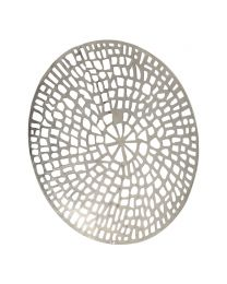 Silver Coral Design Round Wall Plaque Textured Aluminium
