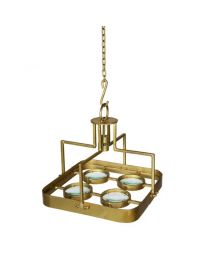 Signature Galaxy Small Square Magnifying Chandelier - Antique Brass