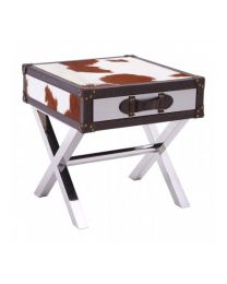 Cowhide Side Table Brown And White