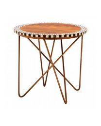 Acacia And Hairpin Leg Side Table