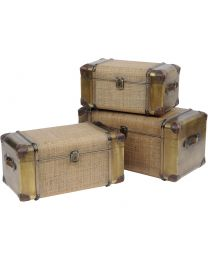 Bamboo Set Of Three Rattan Trunks