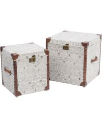 Set Of 2 Black And White Diamond Trunks