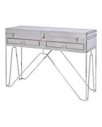 Duke Polished Silver Steel Two Drawer Console Table
