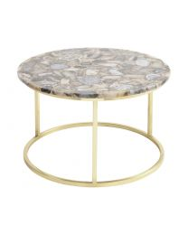 Agate Round Coffee Table On Brass Frame