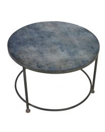 Blue Patterned Glass Top Coffee Table