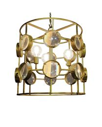 Signature Galaxy Wide Cylinder Magnifying Chandelier - Shiny Brass