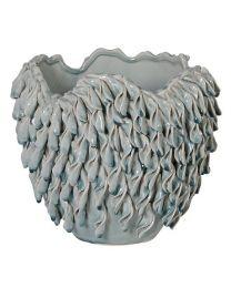 Pale Blue Grey Curl Leaf Vase