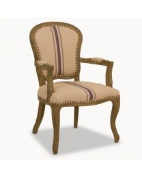 St James Oak Carver Dining Chair With Blue Stripe