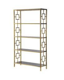 Terano Gold Frame Black Mirrored Open Bookcase