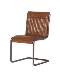 Real Italian Leather And Steel Dining Chair