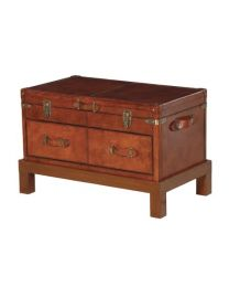 Malviya Leather Trunk On Wooden Base