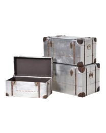 Set 3 Silver Trunks With Straps