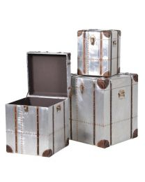 Set 3 Square Silver Trunks With Straps