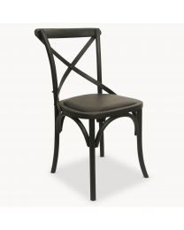 Sandhurst Black Oak Dining Chair With Padded Leather Seat