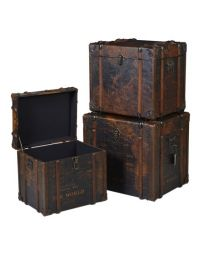 Set Of 3 World Map Trunks