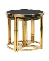 5 Piece Nest Of Table In Gold And Black