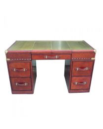 Signature Cognac Leather Desk With Brass Top