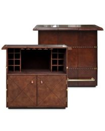 Signature Cognac Leather Bar Counter - With Brass Top