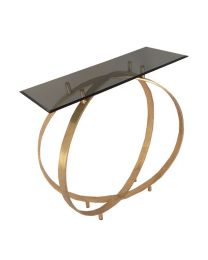 Signature Twin Ring Design Glass Top Console Table – Brass