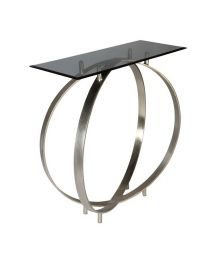 Signature Twin Ring Design Glass Top Console Table - Shiny Silver