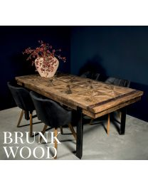 Brunk Wood Dining Table With Iron Legs