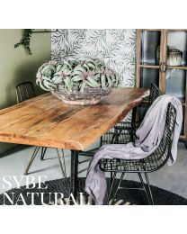 Sybe Natural Acacia Wood Dining Table With Iron Legs