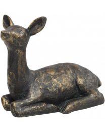 Antique Bronze Sitting Fawn Sculpture