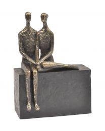 Antique Bronze Couple On Block Sculpture