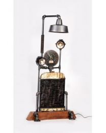 Upcycled Wooden Base With Meter Floor Lamp