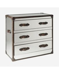 Andrew Martin Howard Steel & Leather Chest Of Drawers