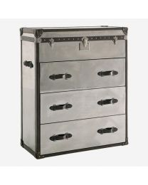 Andrew Martin Steel & Leather Tall Chest Of Drawers