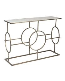 Signature Circle Design Marble Top Console Table - Silver