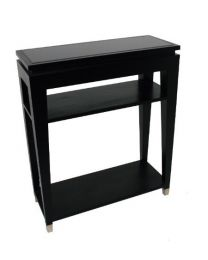 Signature Black Glass Top Console Table With 2 Shelves