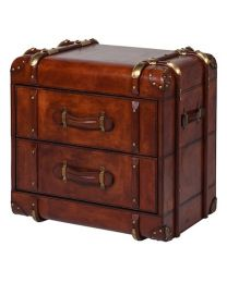 Jaipur Buffalo Leather Two Drawer Side Table