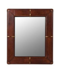 Jaipur Buffalo Leather Wall Mirror With Brass