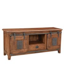Mango Wood Tv Stand Walnut Brown Finish