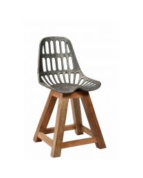Distinctively Industrial Wood And Metal Dining Chair