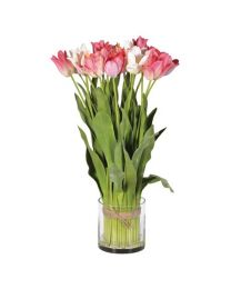 Mixed Pink Tulip Bundle Arrangement Tied In Cylinder Glass V