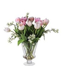 Shades Of Pink Tulips & Blossom Arranged In Glass Urn