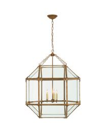 Andrew Martin Morris Large Pendant Light In Gilded Iron (Clear Glass)