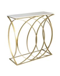 Signature Concentric Circle Console Table – Shiny Brass