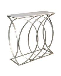 Signature Concentric Circle Console Table – Shiny Silver