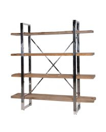 Rustic Pine & Steel Shelf Unit