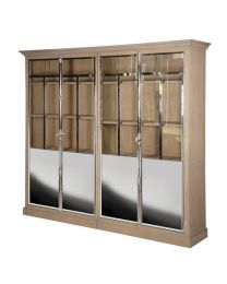 Chrome And Glass 4 Door Cabinet