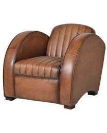 Art Deco Tan Leather Rocket Chair