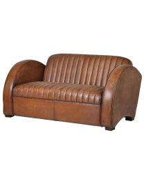 Art Deco Tan Leather Rocket Sofa