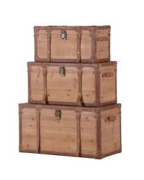 Set Of 3 Wooden Trunks