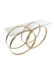 Signature Union Glass Console Table - Gold Finish