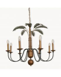 Dunbar Antique Black And Brass Chandelier With Green Leaves