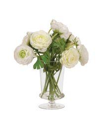 White Ranunculus Arrangement In Glass Footed Vase